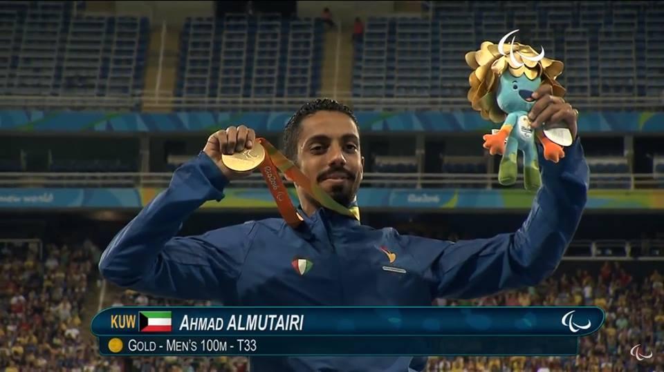 أحمد المطيري الكويت الميدالية الذهبية ألعاب القوى مسابقة 100م كراسي متحركة