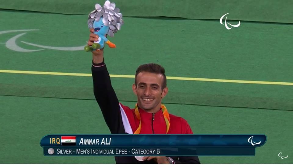 علي عمار العراق الميدالية الفضية المبارزة مسابقة سلاح الايبيه