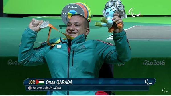 عمر قاردة الأردن الميدالية الفضية رفع الأثقال وزن 49كغ